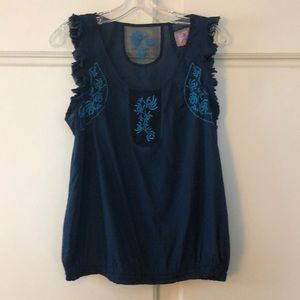 Tops - Free People blue cotton top size 1